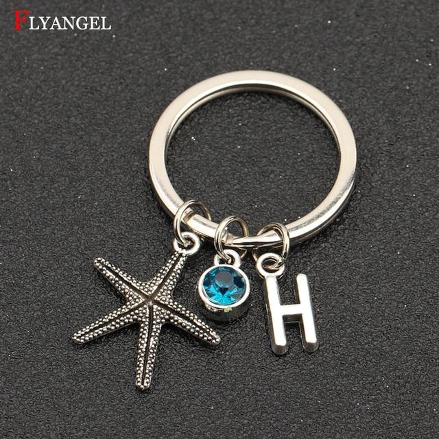 4ebecc9c2 Fashion Jewelry Custom A-Z Initial Letter 12 Birthstone Crystal Starfish  Charms Dangle Keychain Women Men Gift Alloy Keyring