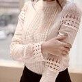 S-5XL Nova Moda Primavera Outono Mulheres blusas de Renda Branca Recorte da Longo-luva Camisa OL Desgaste Do Trabalho Das Mulheres Blusa Tops