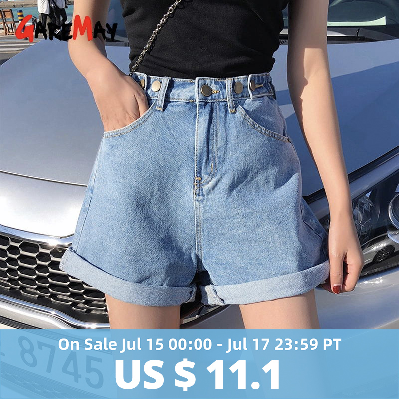 Garemay Women's Denim Shorts Classic Vintage High Waist Blue Wide Leg Female Caual Summer Ladies Shorts Jeans For Women(China)