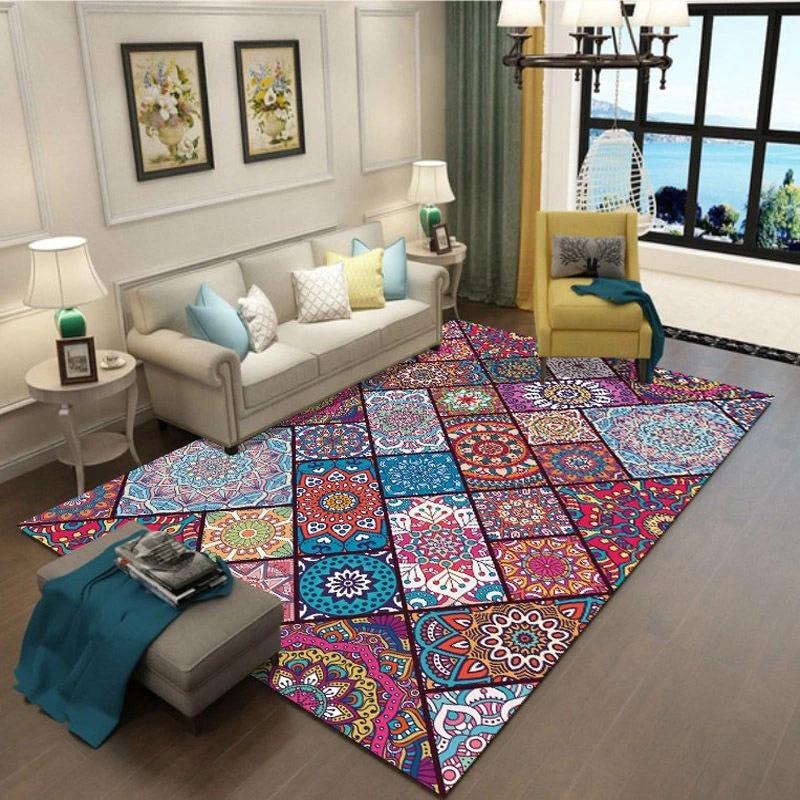 tapis de salle de bain colore de style ethnique vintage tapis de sol pour danse yoga tapis de bain de qualite 2 3m tapis de chambre a coucher tapis