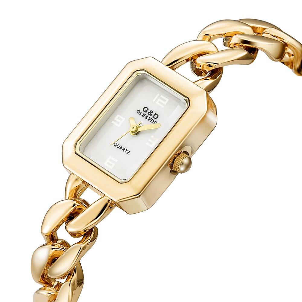 Nouveau! G & D montres femmes or de luxe marque Laides Bracelet montre Quartz montre-Bracelet Rectangle relogio feminino reloj mujer horloge