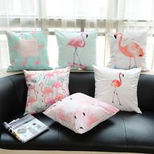 Flower Flamingo Series Pink Cushions Flamingo Throw Pillows Printed Square Cotton Linen Sofa Animal Home Decorative Pillow