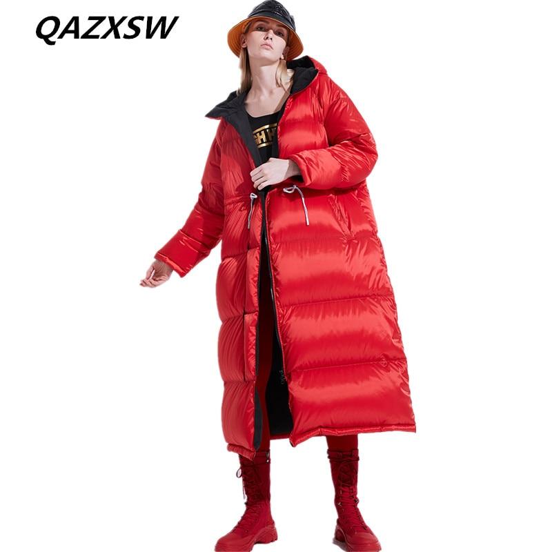 Taille Veste Femmes Lâche Extérieure Chaud Le270 2018 Lumineux Nouveau Vers Hiver Sur Cravate Le Genou Blue Visage Épais Longue Section Manteau Bas red De z55qT08w