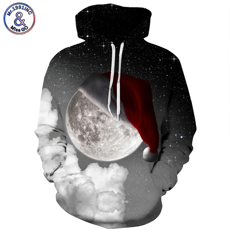 Mr.1991INC Newest Style Sky Star Christmas hat digital Print Casual Sweatshirts Men hood ...