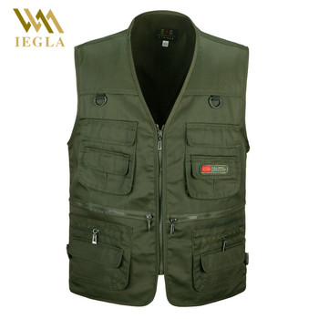 Male Vest Men Fashion Cotton Sleeveless Jackets Black Casual Fishing Vests with Many Pockets Unloading Waistcoat 1