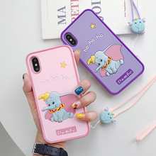 Fashion Cute Cartoon Dumbo Soft Silicone Phone Case for iPhone XR 7 6 8 Plus X XS MAX Full Protection with Hang Rope Back Cover
