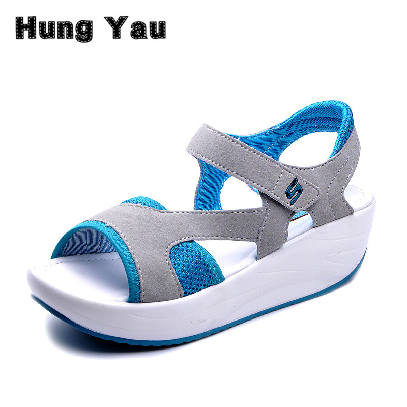 Women's Sandals Casual Sport Mesh Breathable Shoes Summer Style Woman Comfortable Wedges Sandals Lace Platform Sandals Size 40 summer women shoes casual cutouts lace canvas shoes hollow floral breathable platform flat shoe sapato feminino lace sandals