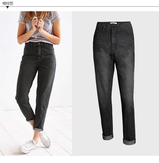 c772d2593e5 Fashion Boyfriend Jeans Women Cotton Denim Jean for Ladies Black High Waist  Pants Straight Trousers pantalon femme 25-30