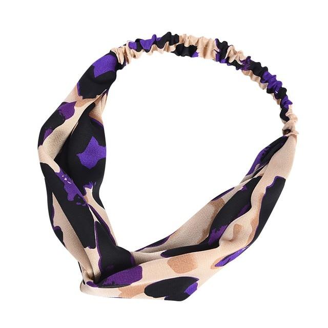 Feitong womens Boho Torção Nó Cabeça de Leopardo fêmea senhoras Envoltório Elástico Faixa de Cabelo Yoga Esporte Senhoras pritned hairband # y60
