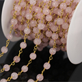 Wholesale 5Meter Rose Quartz Faceted Round Bead Chain,plated Gold Wire Wrapped Rosary Chain Necklace Fashion Jewelry Findings