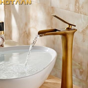 Free shipping Basin Faucet Antique Brass waterfall Bathroom Basin Sink Mixer Tap Crane,torneira YT-5087