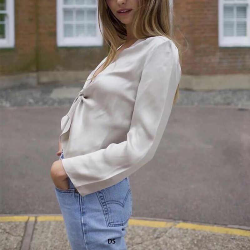 2019 Новая Европейская и американская Женская Сексуальная атласная Женская пижама с кружевом блузка шаль Свободный кардиган рубашка с длинными рукавами женская cc148