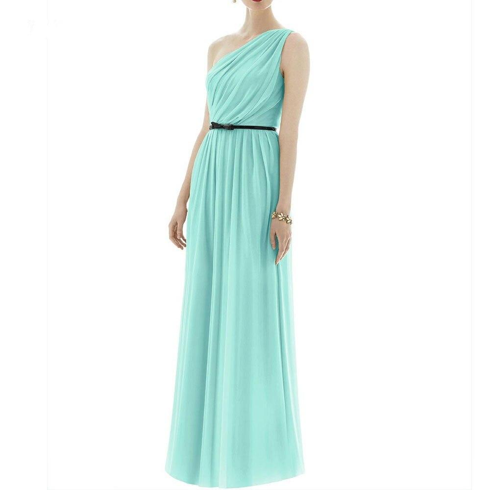 One Shoulder Mint Bridesmaid Dresses To Wedding Long