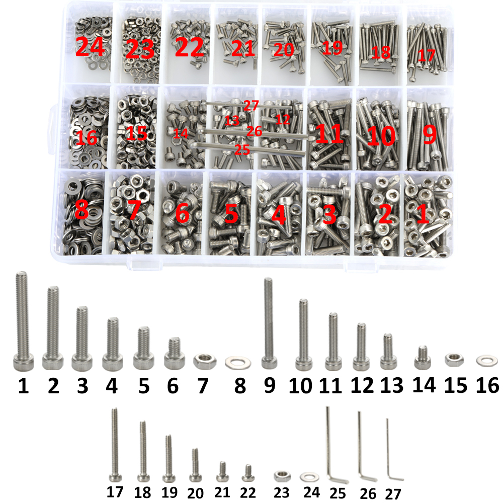 1080pcs Stainless Steel Screw and Nut Hex Wrenches Flat Washer Assortment Set Kit with Storage Box 150pcs m3 white hex spacers nylon screw nut washer assortment standoff kit stand off plastic
