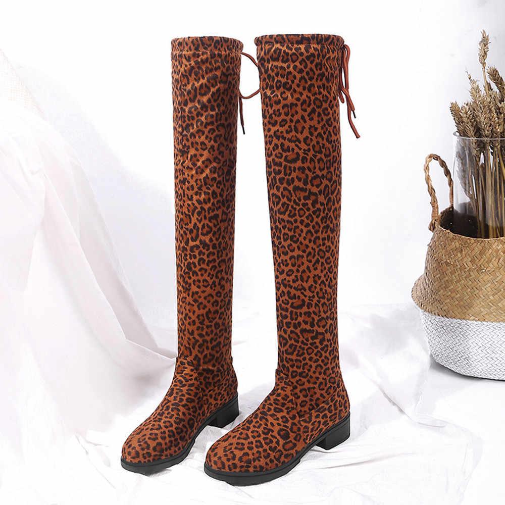 YOUYEDIAN/женские ботинки высокие сапоги с леопардовым принтом и круглым носком обувь выше колена Ботинки martin chaussures femmes marque #25
