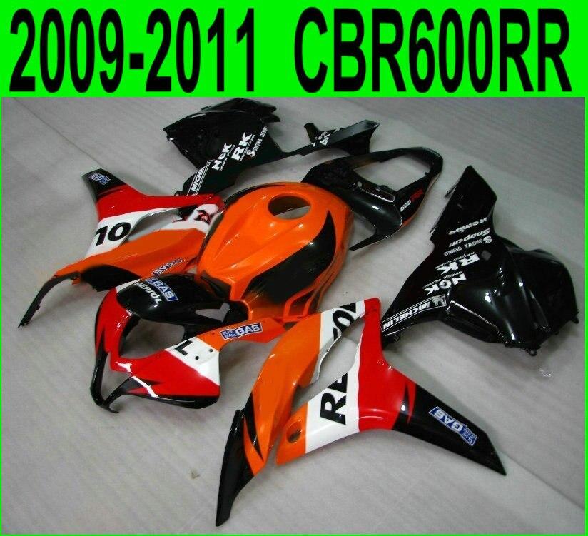 CBR 600RR 2009 2010 2012 2011 100% fit Pour Honda carénages cbr600rr 09 10 11 12 (rouge repsol) haute qualité Carénage kit China07