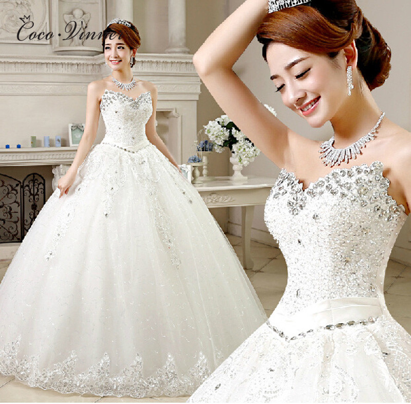 C.V 2018 New korean design princess wedding dress strapless crystal beading embroidery cheap wedding dresses ball gown WX0001