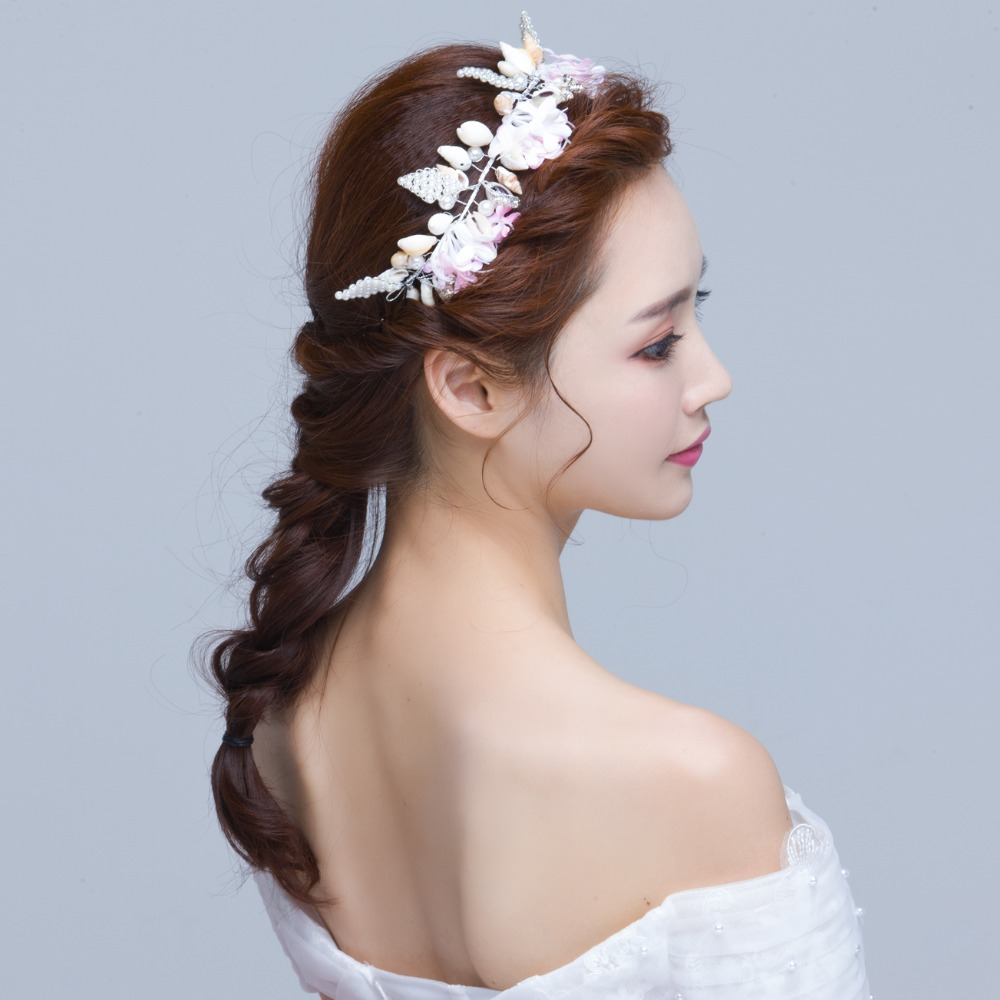 2017 new wholesale beads shell bridal hair accessories korea