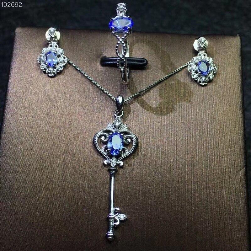 Columbia natürliche tanzanite set ring ohrringe halskette modische mit neue design qualität 925 Silber-in Schmucksets aus Schmuck und Accessoires bei  Gruppe 1