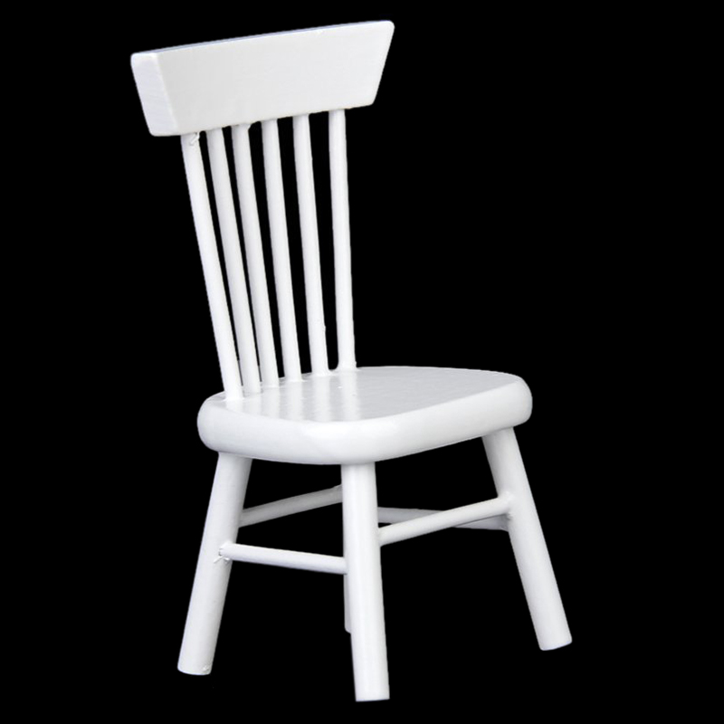 1.7 X 1.4 X 3.1 Inch 1/12 Dollhouse Miniature Dining Furniture Wooden Chair White Exquisite Collection For Dolls