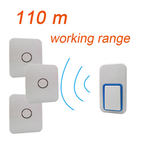 Augreener Long Distance Wireless Doorbell No Battery No Wire One Button 3 Receivers Loud Voice For The Old Door Bell