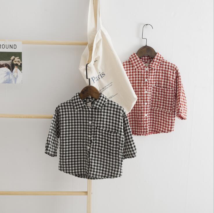 2018 New Style Boys Plaid Shirt  Cotton Spring Autumn Long Sleeve Boys Top 2-7t Q452