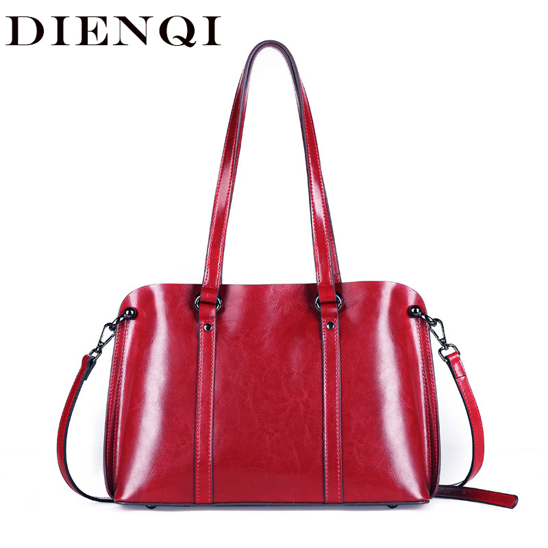 DIENQI Saffiano bags ladies genuine leather shoulder bag female luxury women Real leather handbags big Boston