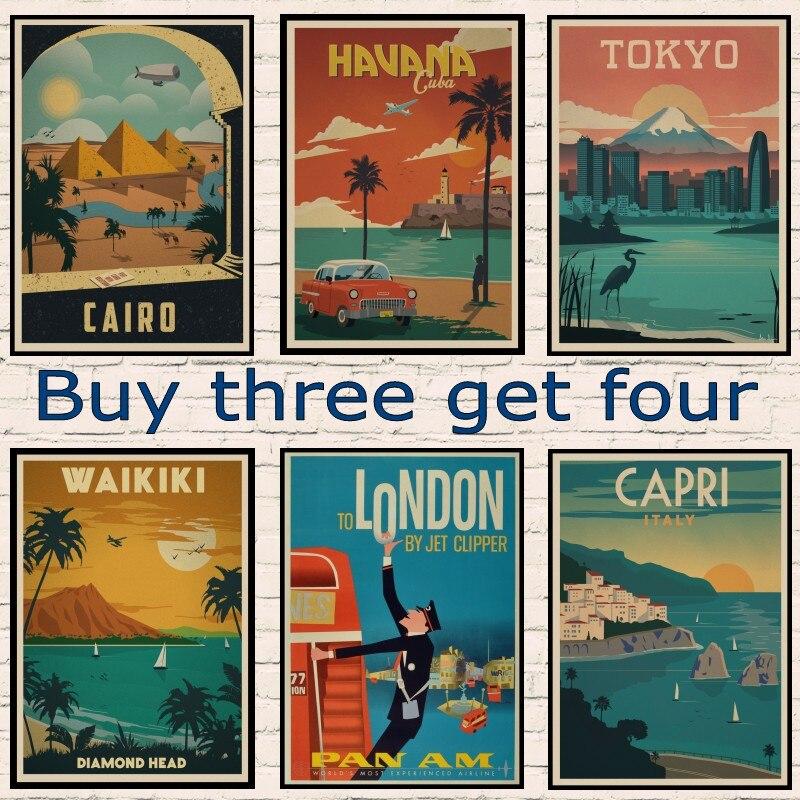 Egypt Cairo Pyramids /Japan Travel Landscape Vintage Retro Poster Decorative Wall Kraft paper Posters Bar Home Decor Gift New
