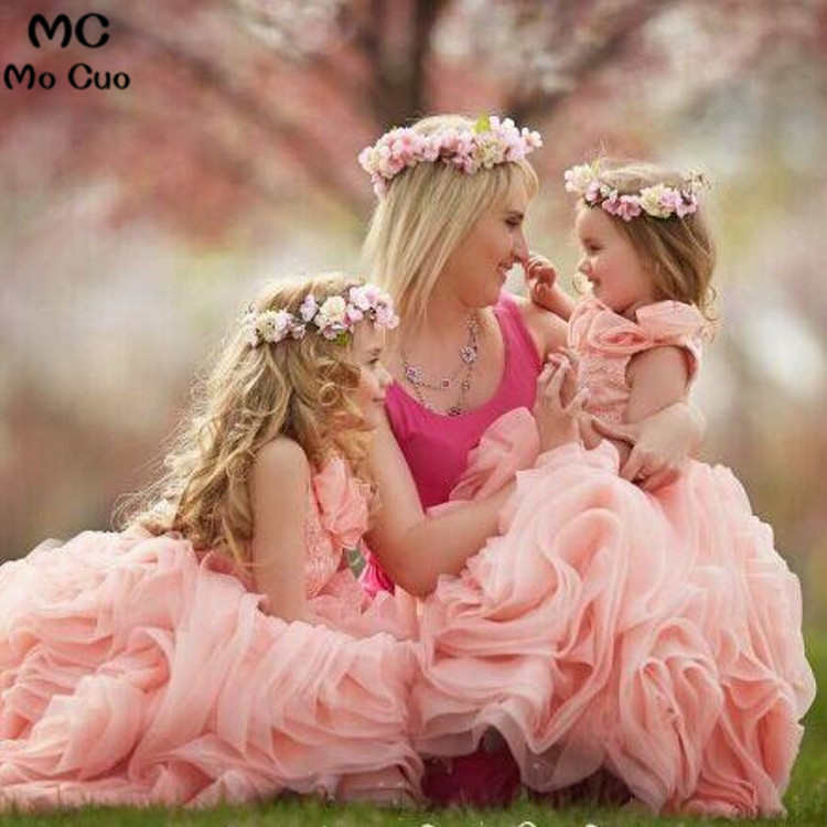 2018 Pink Pageant   Dresses   For Little   Girls   first communion   dresses   for   girls   Ruffles   Flower     Girl     Dresses   Baby   Girl   Tutu   Dress