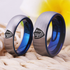 """Image 5 - YGK מותג 8 מ""""מ/6 מ""""מ מט כסף כחול מחוץ בתוך טונגסטן קרביד טבעת ספרדית CTR טבעת HLJ עיצוב טבעת"""