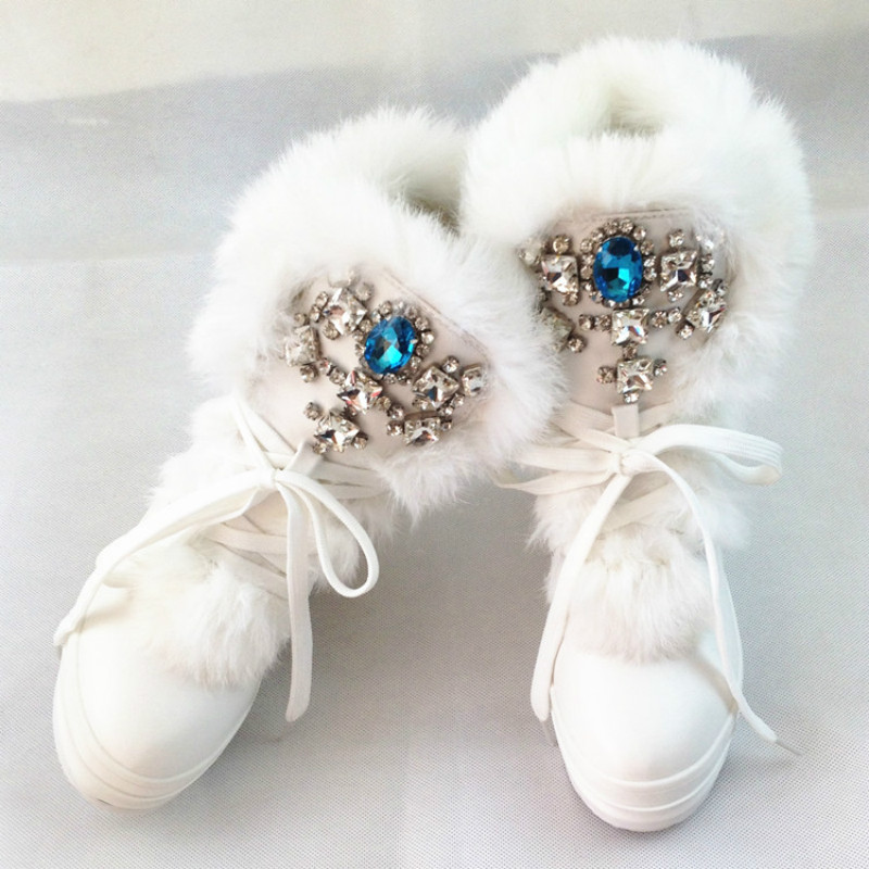 Real Rabbit Fur Winter Boots Rhinestones Diamond Fashion Snow Boots Thick Warm High-Top Women Shoes Large Size 40 41 1107W