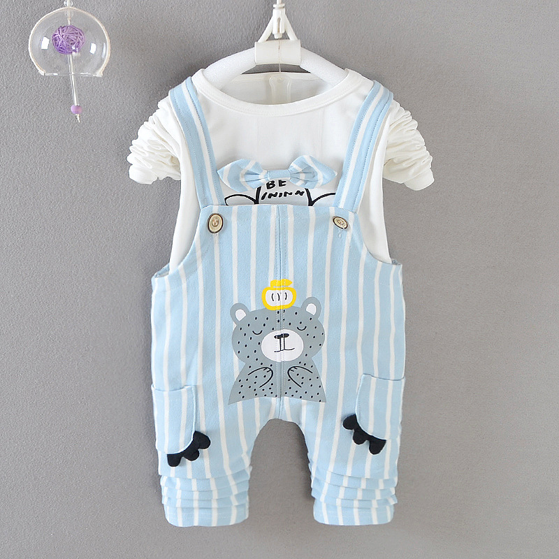 Clearance Sale Autumn baby girls clothing set t-shirt + overalls 2 pieces outfits children spring wear kids 0-2 years cotton