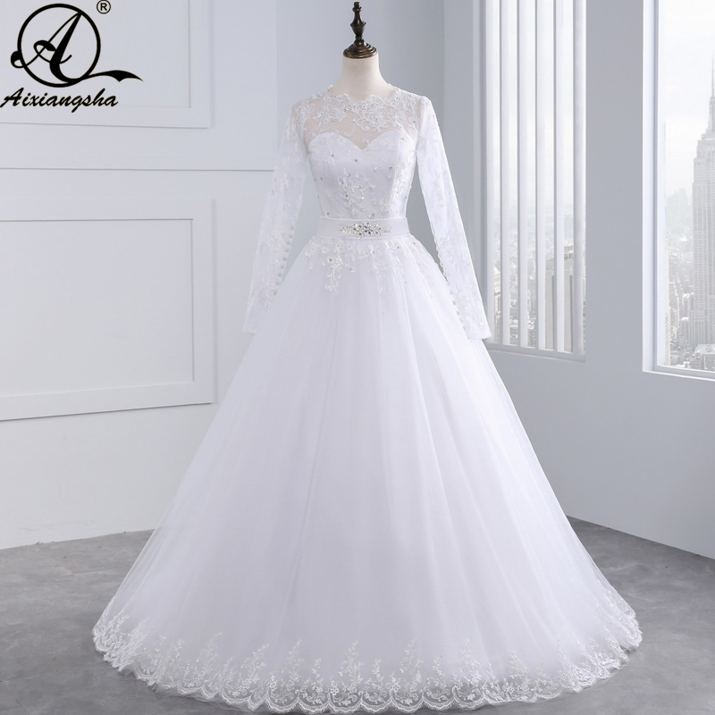 Sexy Lace China Wedding Dresses 2018 A-Line Lace Wedding Gowns Romantik Plus Saiz Vintage Murah vestido de noiva