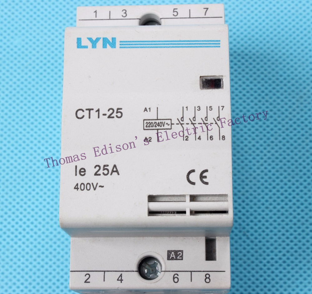 auxiliar de partida KOHTAKTOP CT1 CT1-25 25A 4P 220V 50 or 60HZ Din rail Household AC Contactor ct 2p 25a no nc ac220v home ac contactor often open ct1 25 25a lyn brand