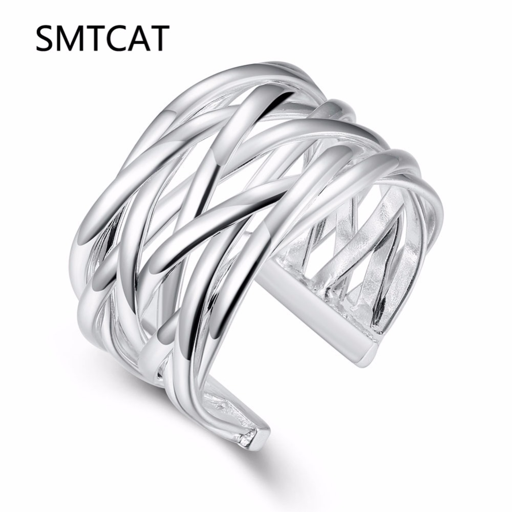 SMTCAT Hot sell Best gift Wholesale jewelry silver color rings handmade Weave web net ring Small reticulocyte finger ring