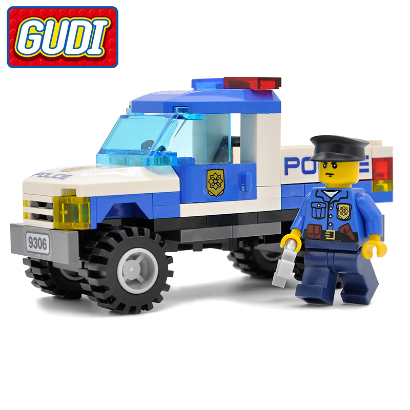 GUDI City Police Pickup Truck Blocks 84pcs Bricks Building Block Sets Educational Toys For Children Compatible Legoings gudi block city large passenger plane airplane block assembly compatible all brand building blocks educational toys for children