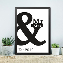 Custom Anniversary Print Wall Art Poster Decor Painting Personalized Paintings Mr Mrs & Canvas