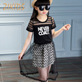 Adolescente Niñas Sistemas de la Ropa de Impresión de la Letra t-shirts + Faldas de Malla de Verano Casual Vestidos de Encaje de la Muchacha de Los Niños Kids Juegos de la ropa