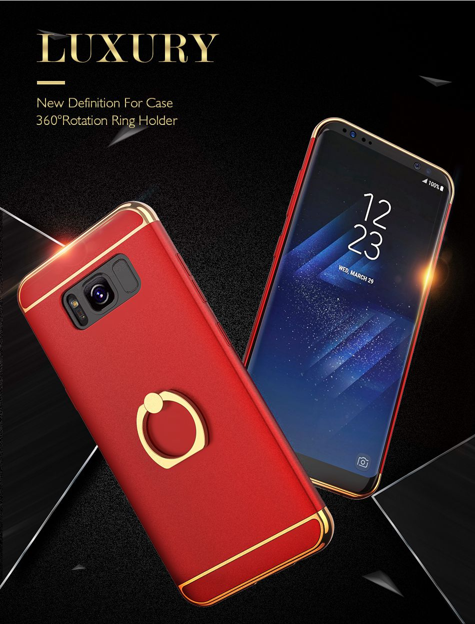 Ring Holder Cover For Samsung Galaxy S8 Plus S8 Case 3 in 1 Combo Armor Stand Phone Bag Cases  (1)