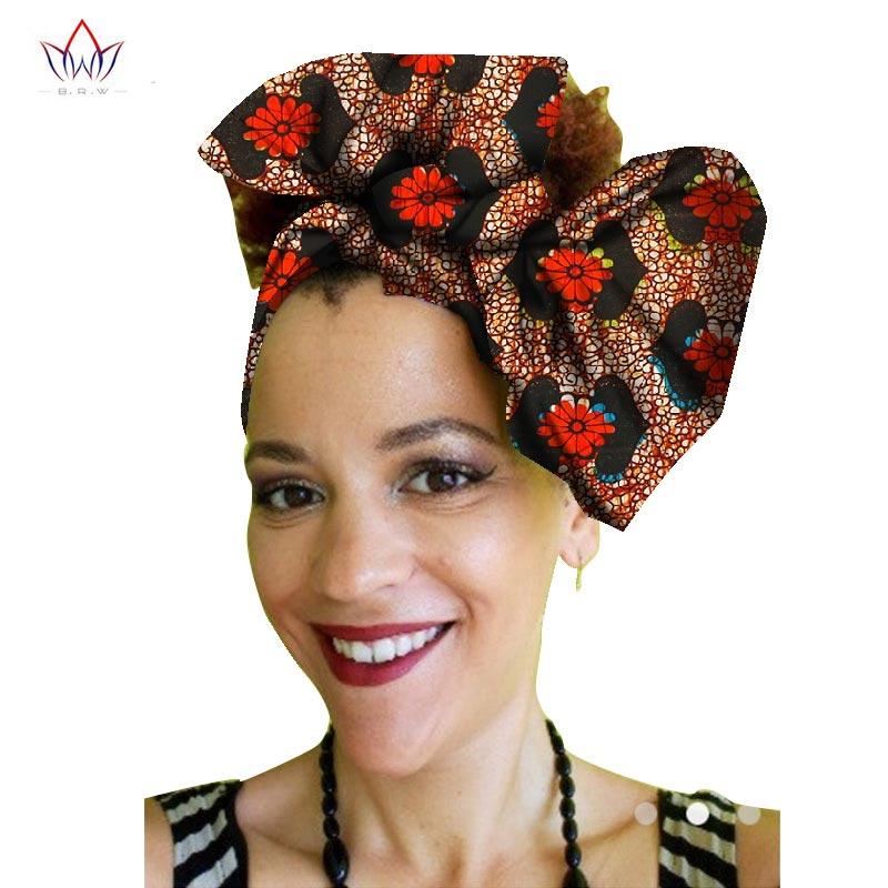 Multi-color African Print Ankara Head wrap Tie Scarf High Quality Hair Accessories Gele Ipele African Bazin Rich Headwear WYb62 ...