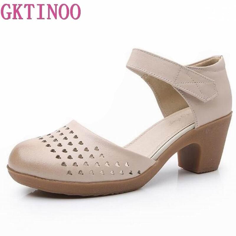 Summer shoes Woman 2019 Women s Sandals Square Heel Sandals Genuine Leather Sandal High Heels