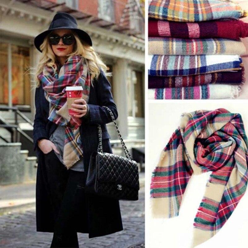 New Brand Winter   Scarf   Fashion Women   Scarf   Luxury Plaid Cashmere   Scarf   Oversized Square Blanket   Scarves     Wrap   Warm Shawl Pashmina