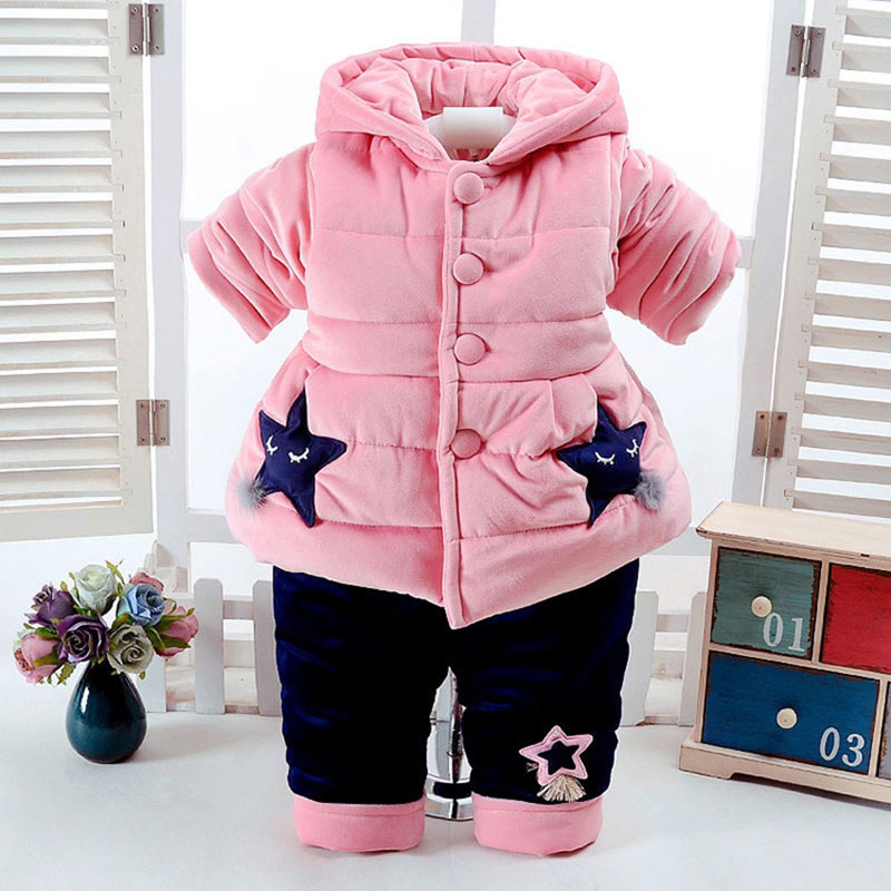 2017 Thick Cotton Winter Clothing Set for Newborns Baby Girl Fashion Outfit Cartoon Suit Hooded Jacket+Pant Toddler Baby Cloth