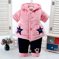 2018 Thick Cotton Winter Clothing Set for Newborns Baby Girl Fashion Outfit Cartoon Suit Hooded Jacket+Pant Toddler Baby Cloth
