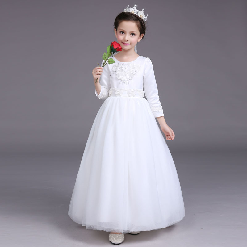 autumn baby girl dress long sleeve kids clothes for 2017 winter new flower girls  party and wedding pageant princess dresses fashion 2016 new autumn girls dress cartoon kids dresses long sleeve princess girl clothes for 2 7y children party striped dress