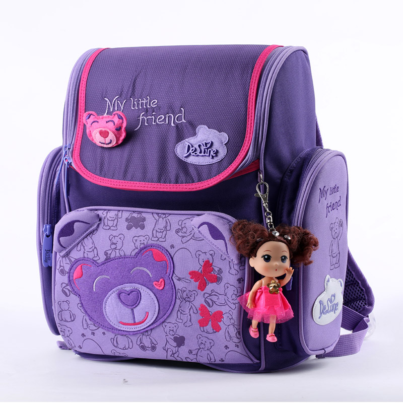 Fashion Brand Delune Kids School Bags Children Cartoon Butterfly Pattern Orthopedic Backpacks For 1-3 Grade Students Baby Girls