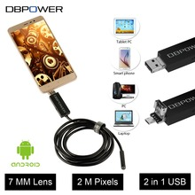 DBPOWER 2 in 1 Endoscope Android&PC USB Inspection Camera 7MM 0.3MP 720P HD Borescope Video Cam 6 Adjust LED Night Vision DC 5V