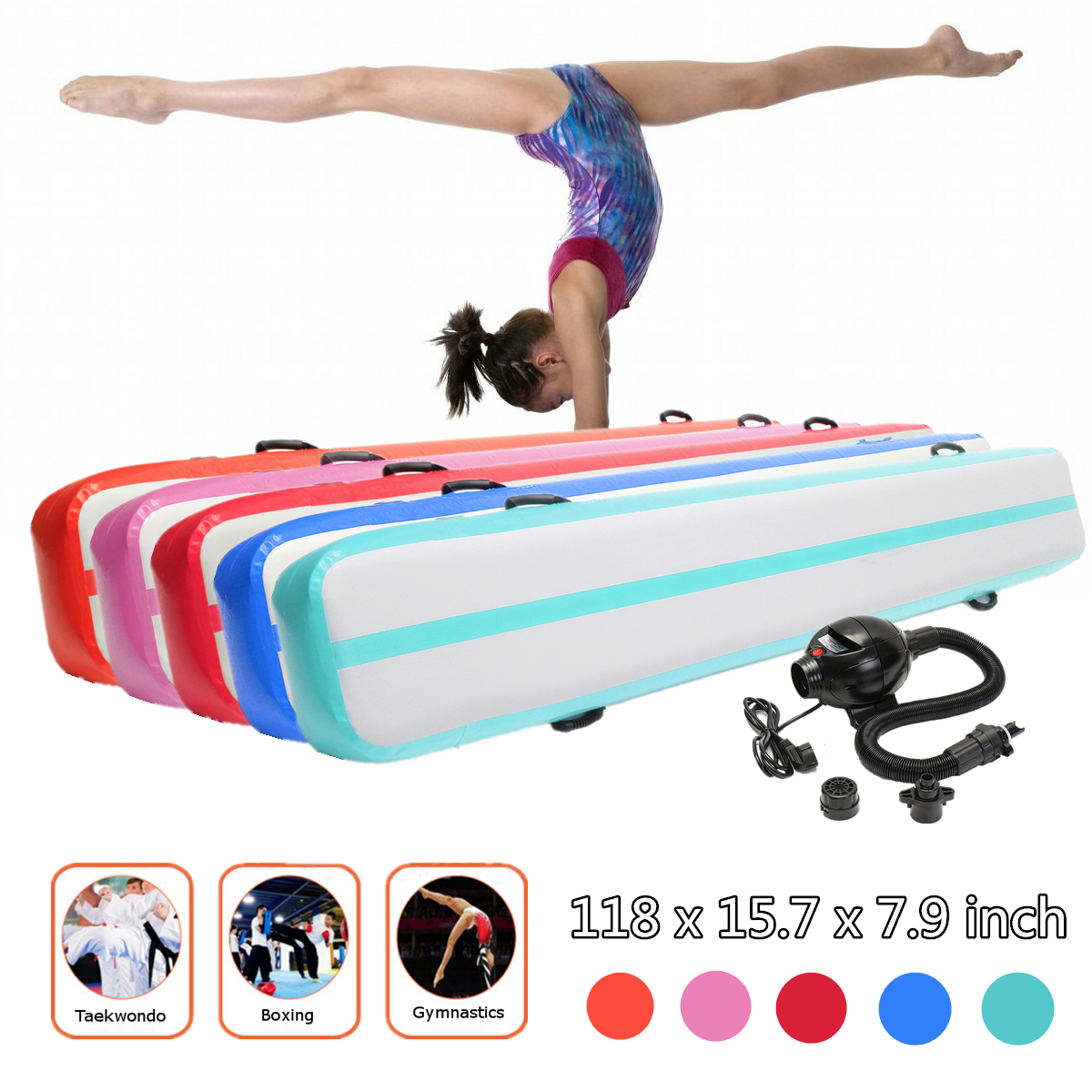 HOT 300*40*20cm Inflatable Air Track Tumbling Floor Gymnastics Practice Training Pad GYM Mat 8m gymnastics air track fitness exercise gym air tumbling mat training inflatable track floor home gymnastic high quality