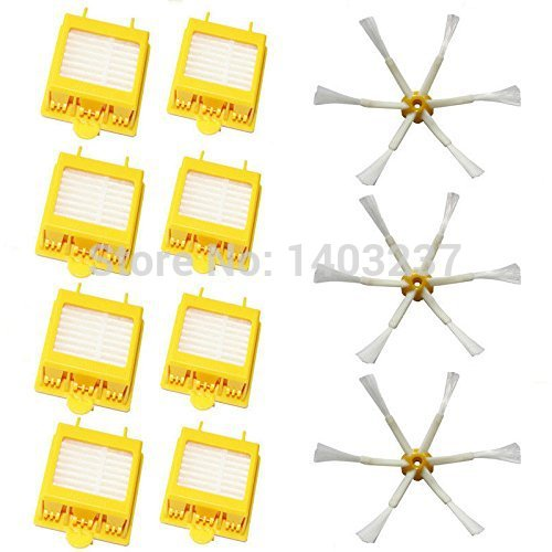 Replacement 8 Hepa Filters + 3 Side Brush 6 Armed for iRobot Roomba 700 Series 760 770 780 Vacuum Cleaning Robotic Accessory 3pc brush replacement mini kit 6 armed for irobot roomba 500 series free shipping
