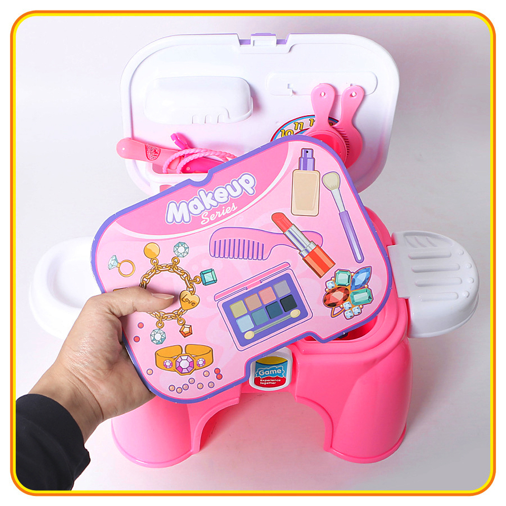 2 in 1 Plastic Pretend Play Makeup Toy Set Portable Chair for Kids Activity & Early Development Education